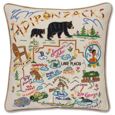 Adirondacks Hand Embroidered CatStudio Pillow