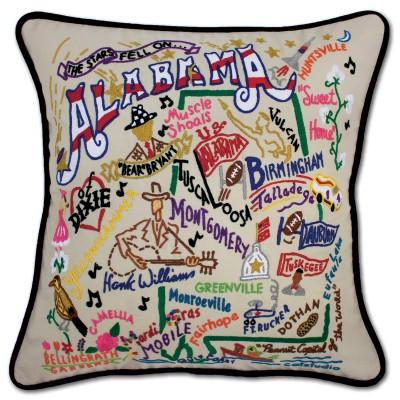 Alabama Hand Embroidered CatStudio Pillow
