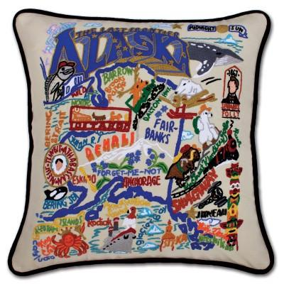 Alaska Hand Embroidered CatStudio Pillow