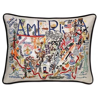 America Hand Embroidered CatStudio Pillow