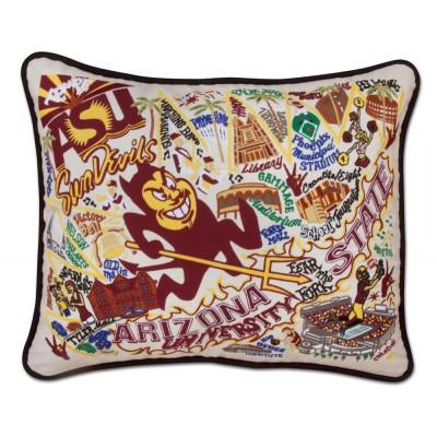 Arizona State University Hand Embroidered CatStudio Pillow