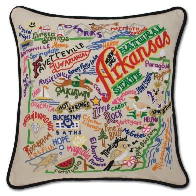 Arkansas Hand Embroidered CatStudio Pillow