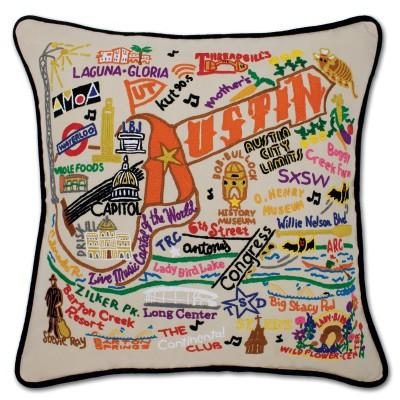 Austin Hand Embroidered CatStudio Pillow