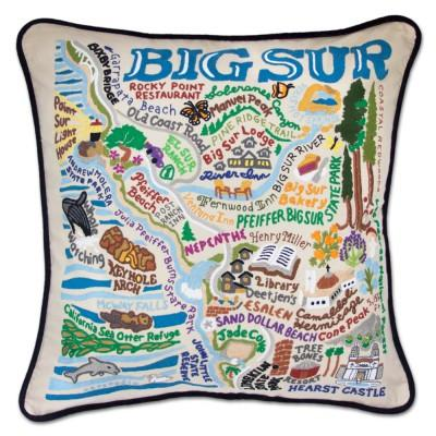 Big Sur Hand Embroidered CatStudio Pillow