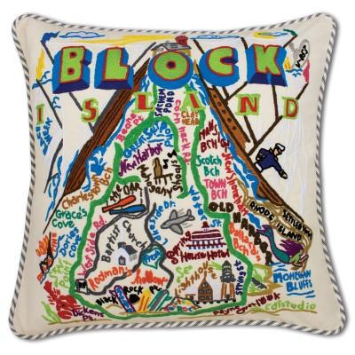 Block Island Hand Embroidered CatStudio Pillow