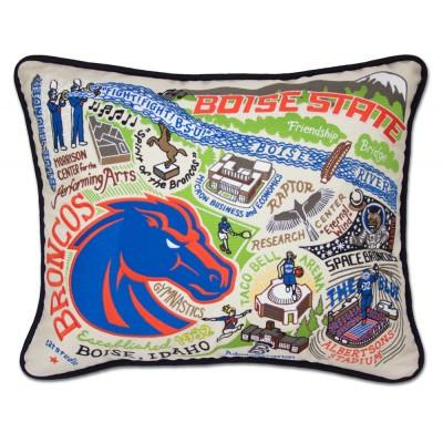Boise State Hand Embroidered CatStudio Pillow