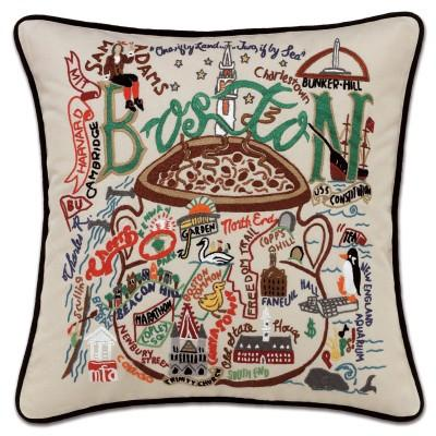 Boston Hand Embroidered CatStudio Pillow