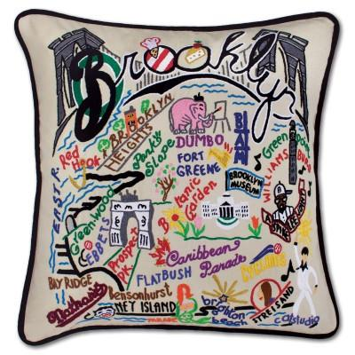 Brooklyn Hand Embroidered CatStudio Pillow
