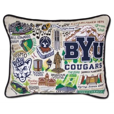 Brigham Young University Hand Embroidered CatStudio Pillow