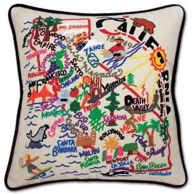 California Hand Embroidered CatStudio Pillow
