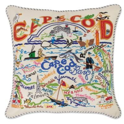 Cape Cod Hand Embroidered CatStudio Pillow