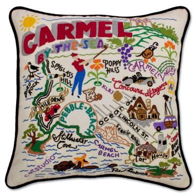 Carmel By The Sea Hand Embroidered CatStudio Pillow