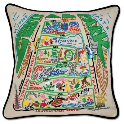 Central Park Embroidered CatStudio Pillow
