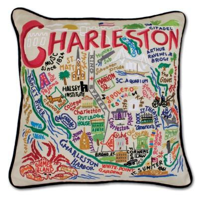 Charleston Hand Embroidered CatStudio Pillow