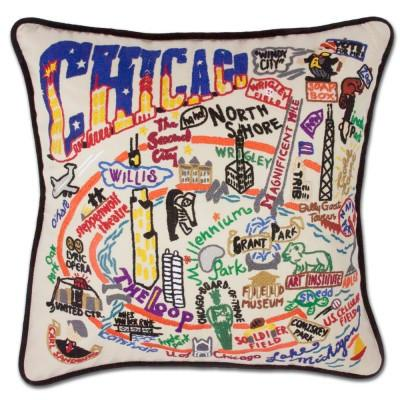 Chicago Hand Embroidered CatStudio Pillow