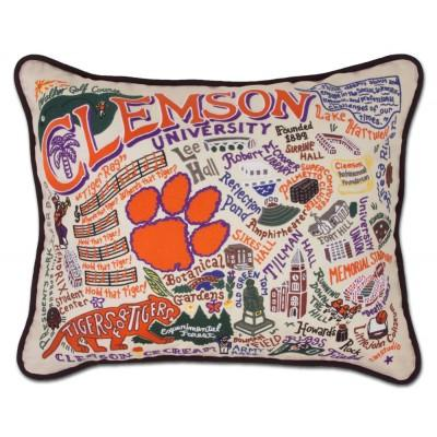 Clemson Hand Embroidered CatStudio Pillow