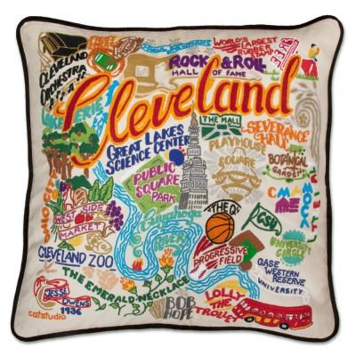 Cleveland Hand Embroidered CatStudio Pillow