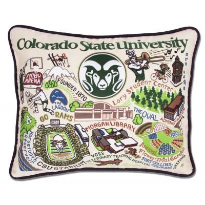Colorado State University Hand Embroidered CatStudio Pillow