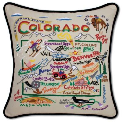 Colorado Hand Embroidered CatStudio Pillow