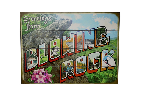 Blowing Rock Mural Wooden Sign
