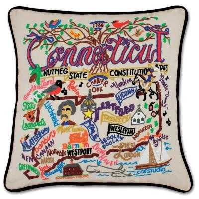 Connecticut Hand Embroidered CatStudio Pillow
