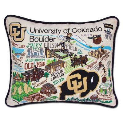 Boulder University Hand Embroidered CatStudio Pillow