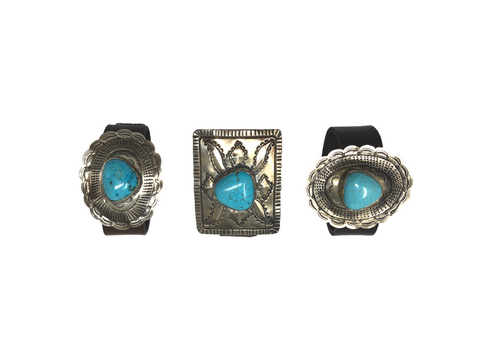 Turquoise and Leather Belt Cuffs