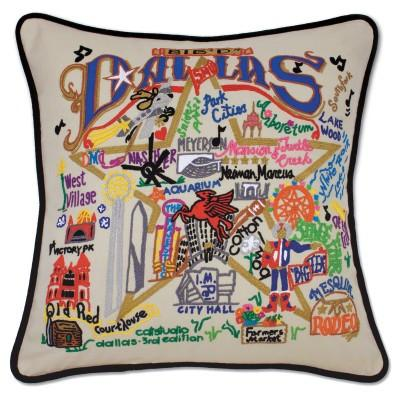 Dallas Hand Embroidered CatStudio Pillow