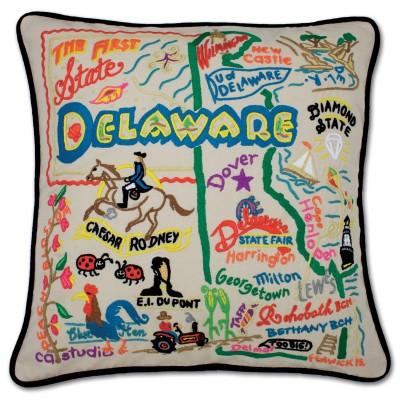 Delaware Hand Embroidered CatStudio Pillow