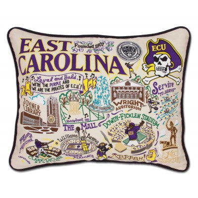 East Carolina University Hand Embroidered CatStudio Pillow