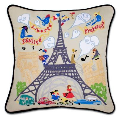 Eiffel Tower Hand Embroidered CatStudio Pillow