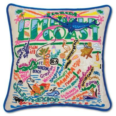 Emerald Coast Embroidered CatStudio Pillow