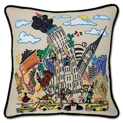 Empire State Hand Embroidered CatStudio Pillow