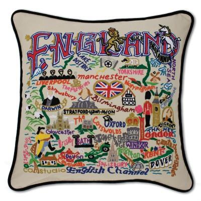 England Hand Embroidered CatStudio Pillow