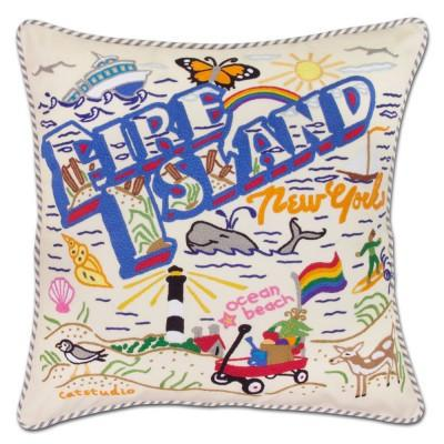 Fire Island Embroidered CatStudio Pillow