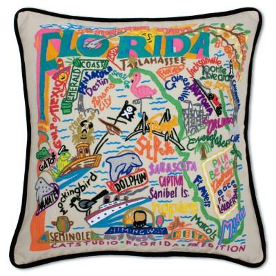 Florida Hand Embroidered CatStudio Pillow