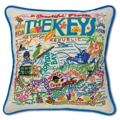 Florida Keys Hand Embroidered CatStudio Pillow