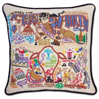 Forth Worth Hand Embroidered CatStudio Pillow