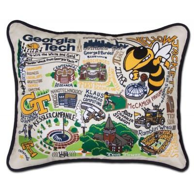 Georgia Tech Hand Embroidered CatStudio Pillow