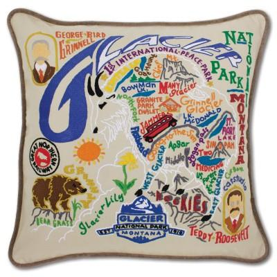 Glacier Park Hand Embroidered CatStudio Pillow