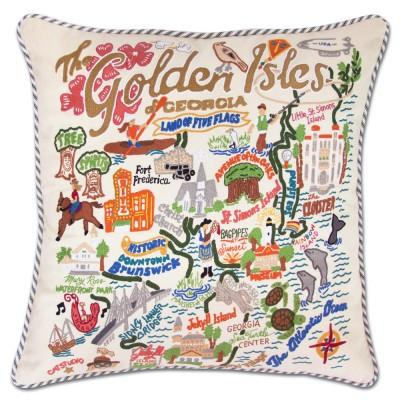 Golden Isles Hand Embroidered CatStudio Pillow