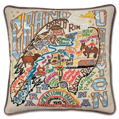 Grand Canyon Hand Embroidered CatStudio Pillow