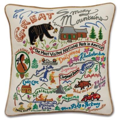 Great Smokey Mountains Hand Embroidered CatStudio Pillow