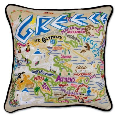 Greece Hand Embroidered CatStudio Pillow