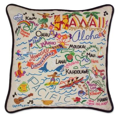 Hawaii Hand Embroidered CatStudio Pillow
