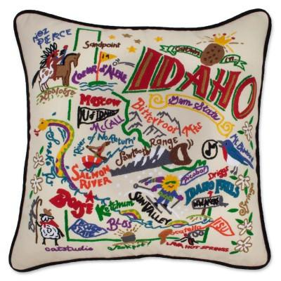 Idaho Hand Embroidered CatStudio Pillow