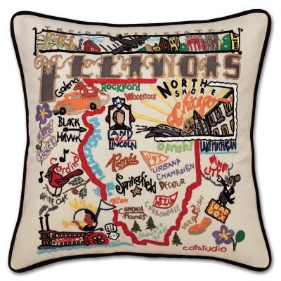 Illinois Hand Embroidered CatStudio Pillow