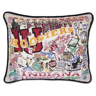 Indiana University Hand Embroidered CatStudio Pillow