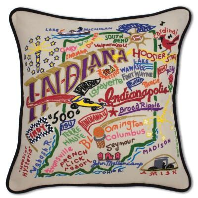 Indiana Hand Embroidered CatStudio Pillow