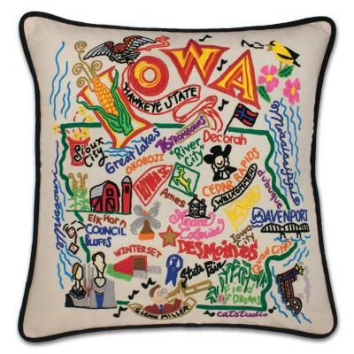 Iowa Hand Embroidered CatStudio Pillow
